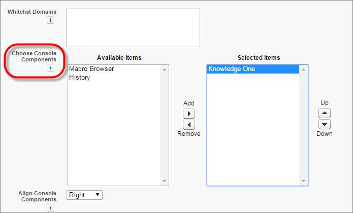 A screenshot of the Choose Console Components field on a console's edit page