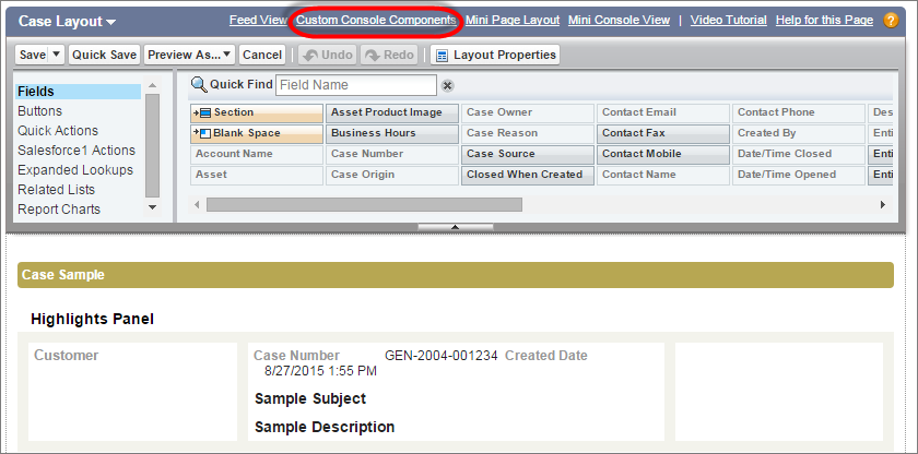A screenshot of a case page layout with the Custom Console Component link highlighted
