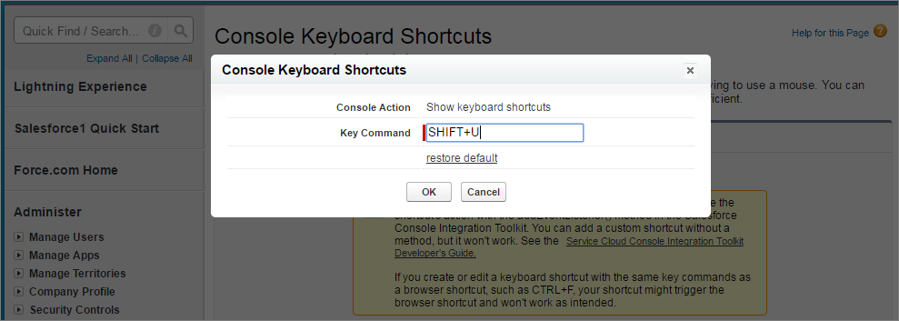 A screen shot of customize standard shortcut overlay in setup