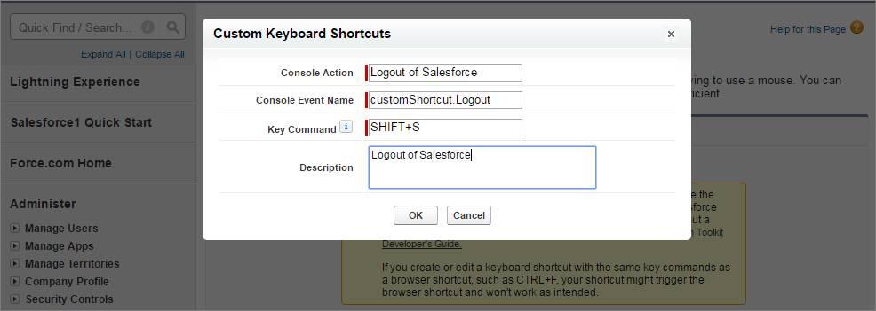 Screenshot vom Hinzufügen einer benutzerdefinierten Tastenkombination im Setup