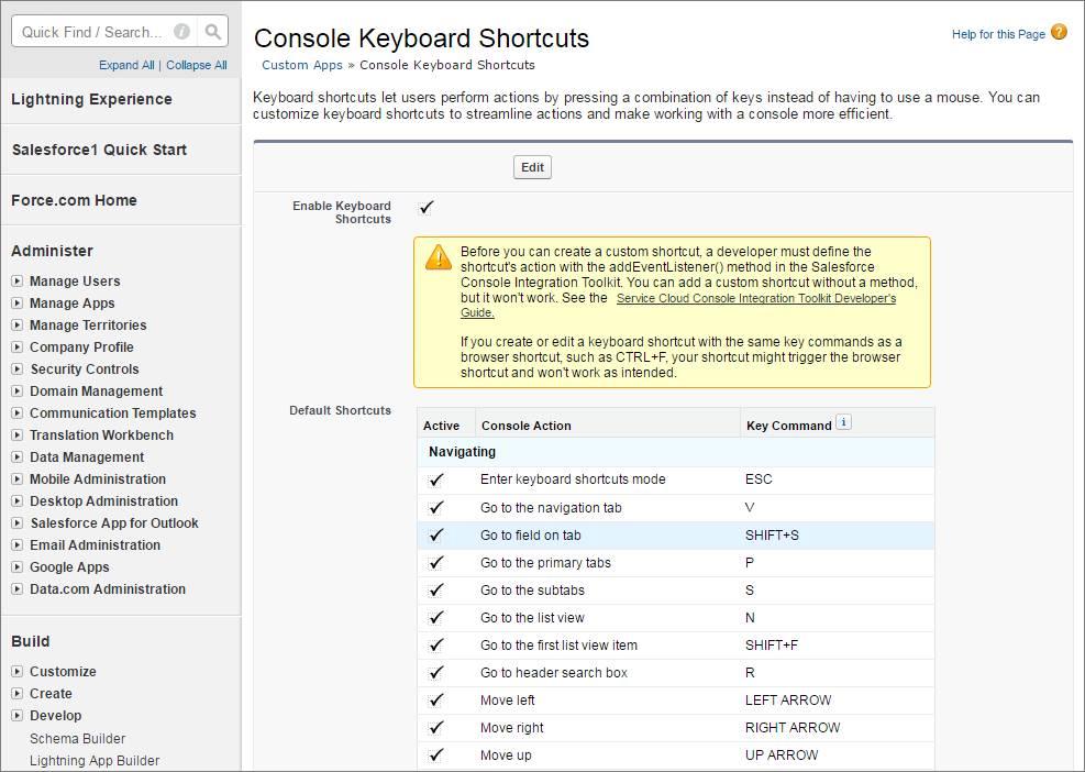 Screenshot des Konsolenbildschirms zum Einrichten von Tastenkombinationen