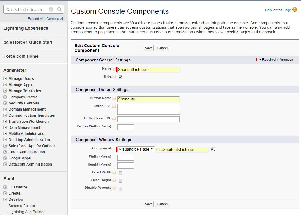 カスタムコンソールコンポーネントをキーボードショートカット用のフッターに追加するスクリーンショット