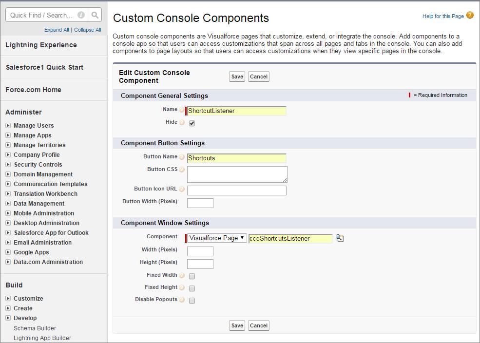 Uma captura de tela da adição de um componente de console personalizado ao rodapé para um atalho de teclado