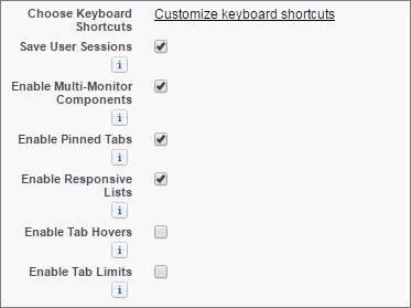 Uma captura de tela do link de atalhos de teclado personalizados na configuração