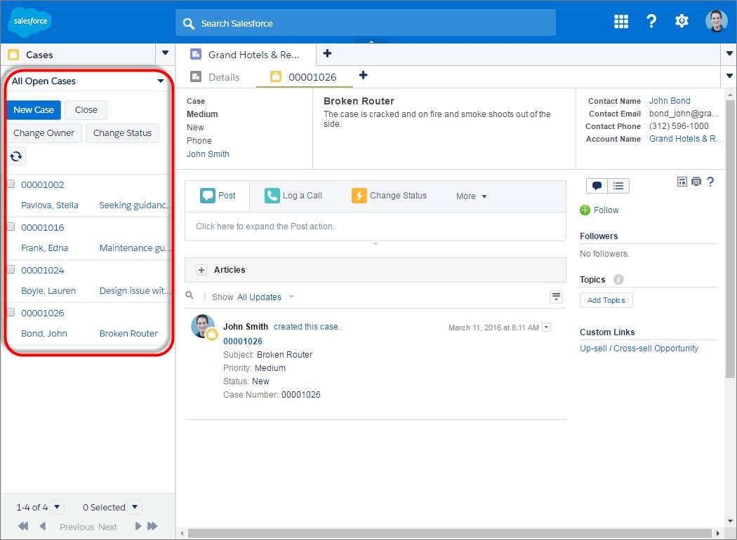 Screenshot mit einer verankerten Liste auf der linken Seite