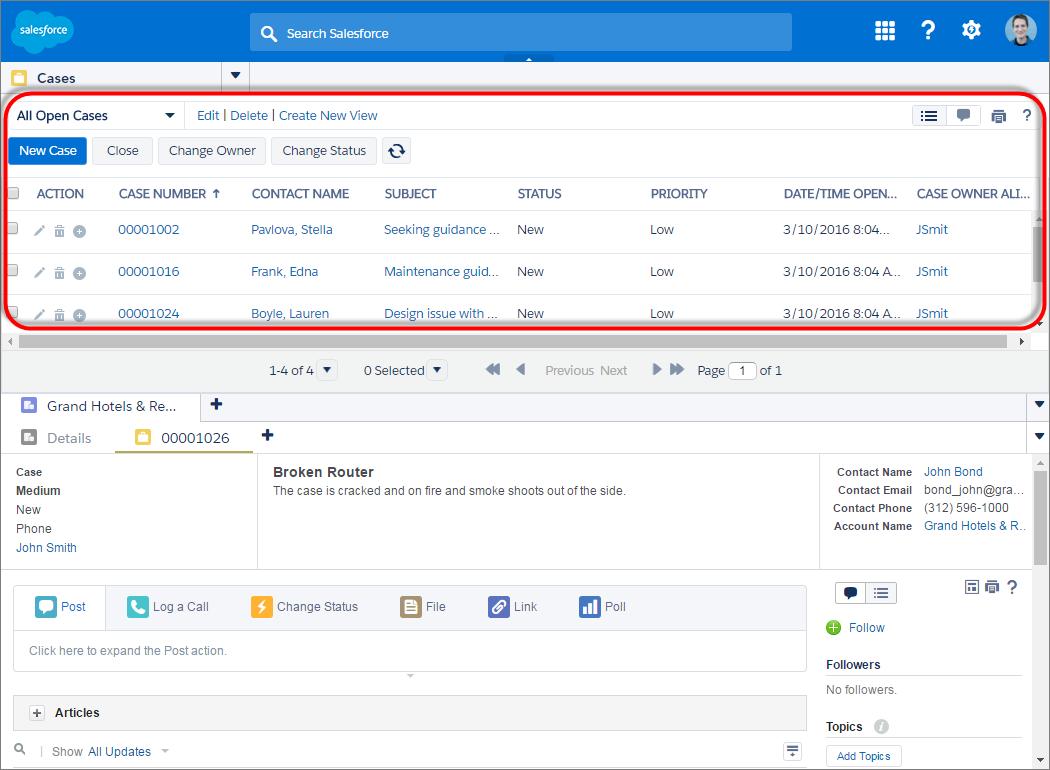 Screenshot mit einer verankerten Liste am oberen Bildschirmrand