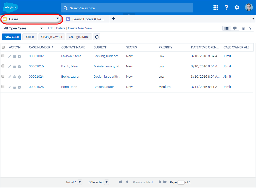 固定されていないリストをナビゲーションタブから表示したコンソールのスクリーンショット
