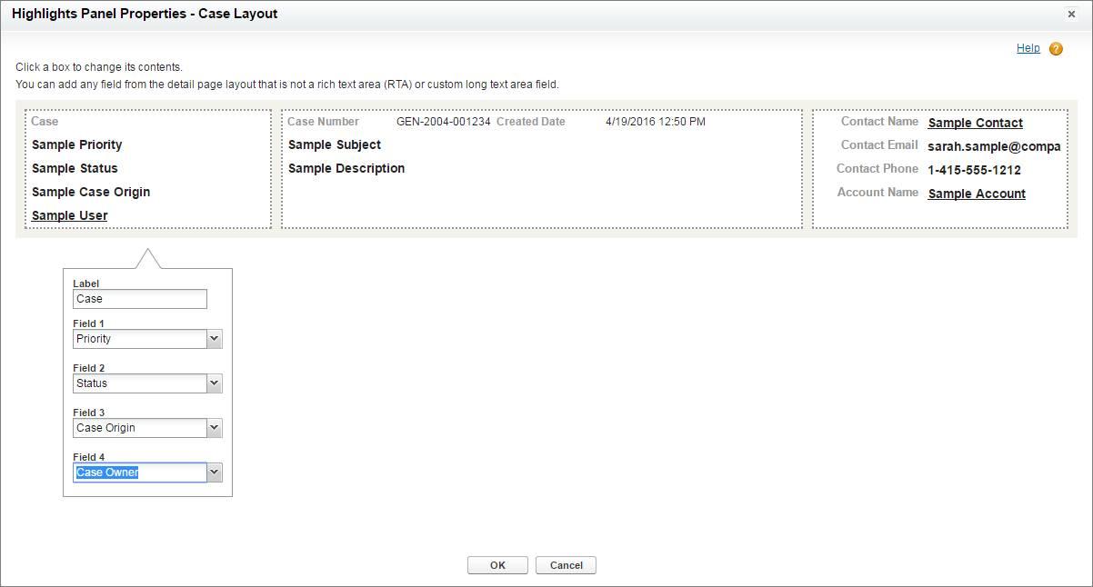 Screenshot des Hervorhebungsfeld-Overlays für die Auswahl von Feldern