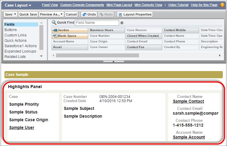 Screenshot des Hervorhebungsfelds auf dem Seitenlayout für Kundenvorgänge