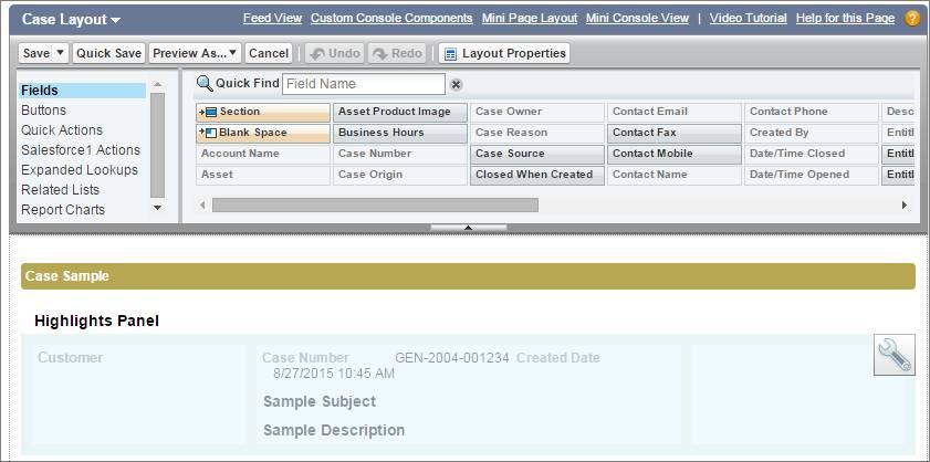 [設定] でのケースの強調表示パネルのスクリーンショット