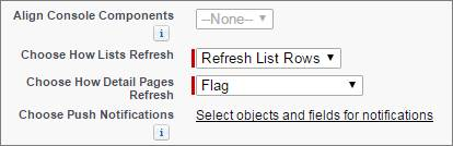 A screen shot of list refresh and push notificatins settings in a console setup