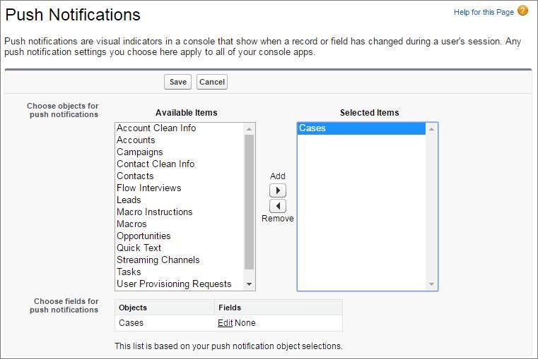 Uma captura de tela da configuração de notificações por push para a escolha de um objeto