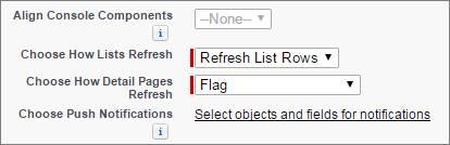 Uma captura de tela das configurações de atualização de listas e notificações por push em uma configuração de console