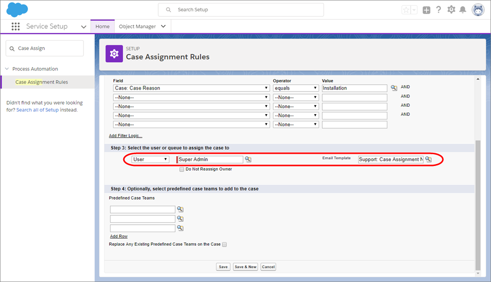 A screenshot of the Case Assignment Rules page with a user and email template selected.