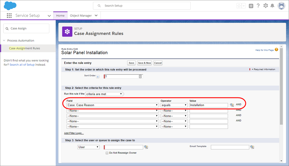 A screenshot of the Case Assignment Rules page in Service Setup.