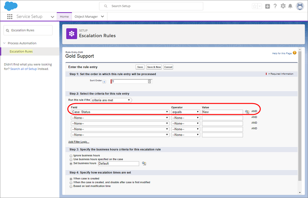A screenshot of the Escalation Rules page in Service Setup.