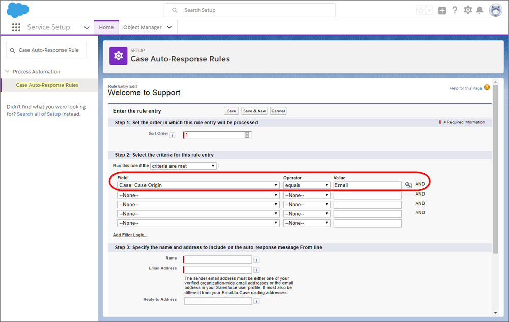 A screenshot of the Case Auto-Response Rules page in Service Setup.