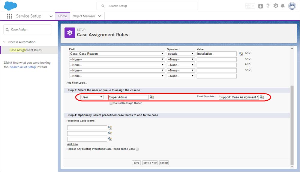 ユーザとメールテンプレートが選択された [ケースの割り当てルール] ページのスクリーンショット。