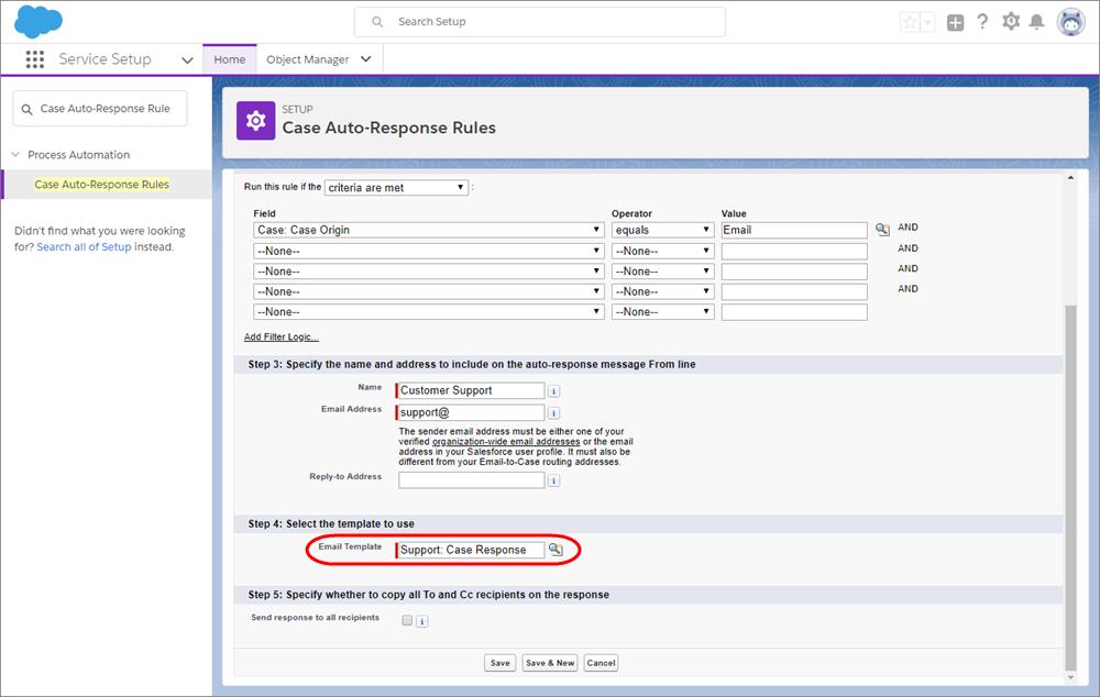 項目条件とメールテンプレートが選択された [ケース自動レスポンスルール] ページのスクリーンショット。