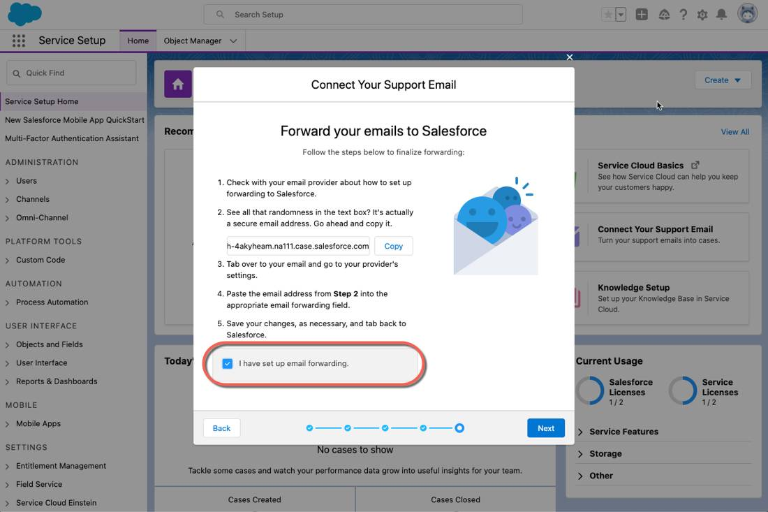 The email setup prompt with the checkbox selected confirming email forwarding.
