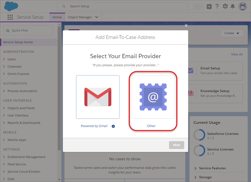 Zweiter E-Mail-Setup-Bildschirm mit hervorgehobener Schaltfläche 'Andere'