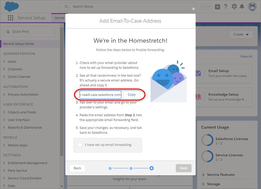 E-Mail-Setup-Bildschirm mit generiertem E-Mail-Weiterleitungslink, der kopiert werden soll