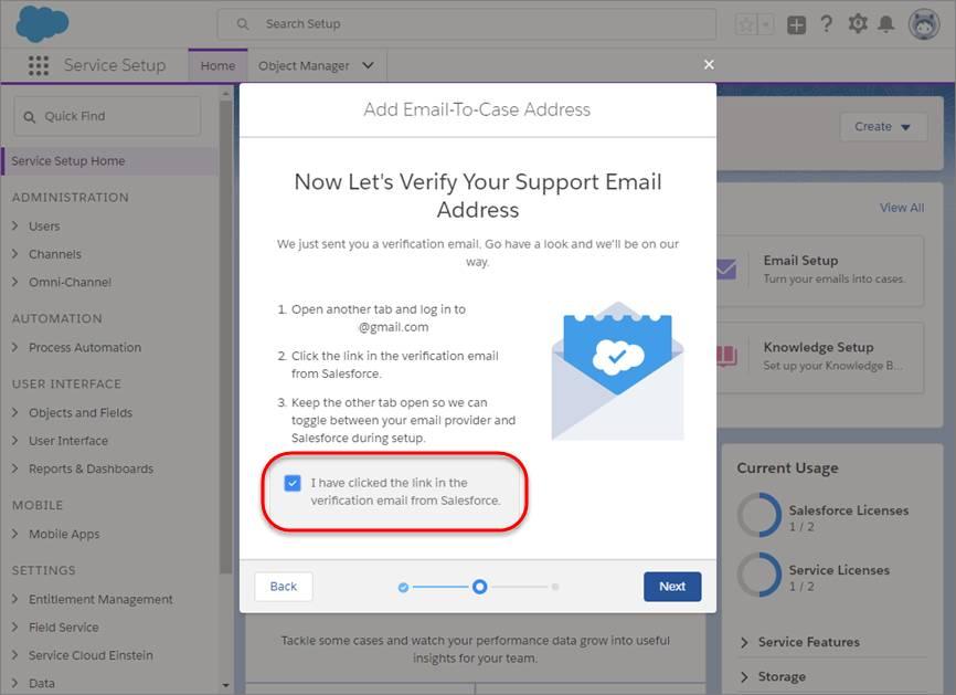 Aktiviertes Kontrollkästchen zur Bestätigung der E-Mail-Überprüfung