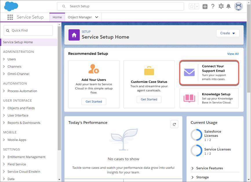 Schaltfläche 'Erste Schritte' unter 'E-Mail-Setup' auf der Service-Setup-Startseite