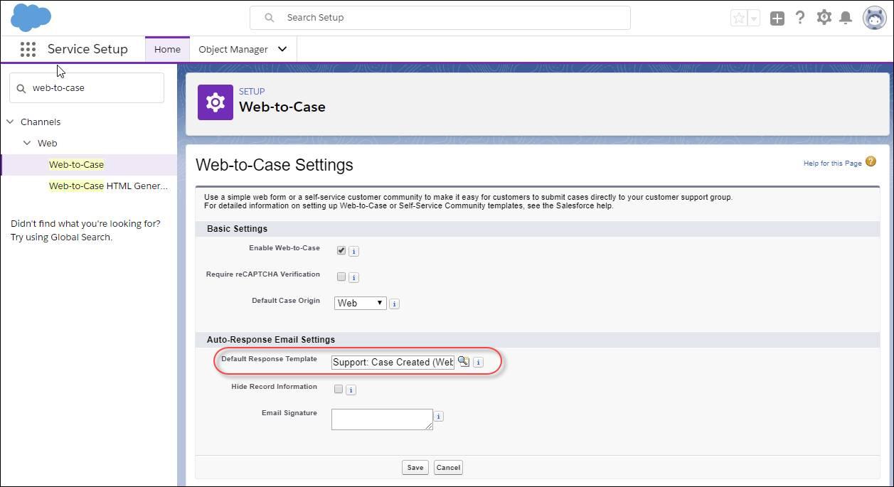 Screenshot der Seite 'Onlinevorgangserfassung' in Service-Setup