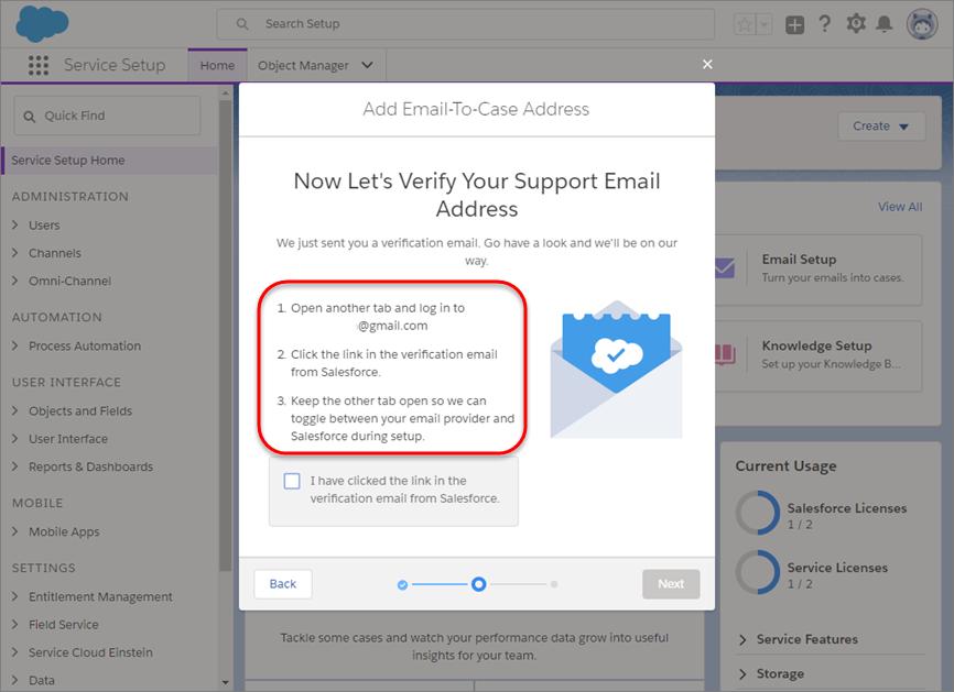Aufforderung zur E-Mail-Überprüfung im Zuge des E-Mail-Setups