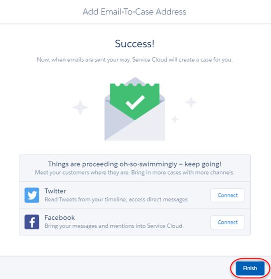 Erfolgsmeldung zum letzten E-Mail-Setup-Bildschirm