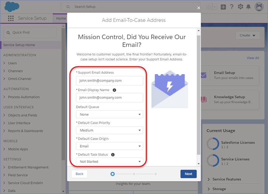 Dritter E-Mail-Setup-Bildschirm mit ausgefüllten E-Mail-Detailfeldern