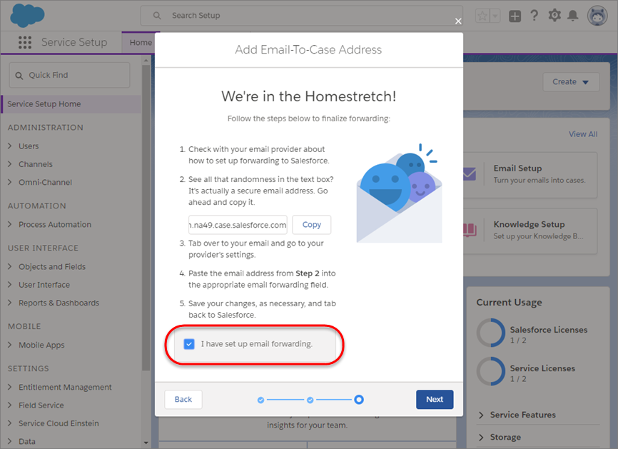 E-Mail-Setup-Bildschirm mit Kontrollkästchen zur Bestätigung der E-Mail-Weiterleitung
