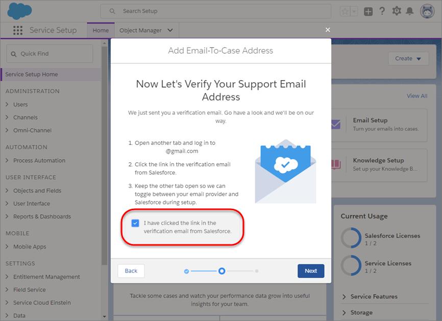 チェックボックスが選択されたメール確認プロンプト。