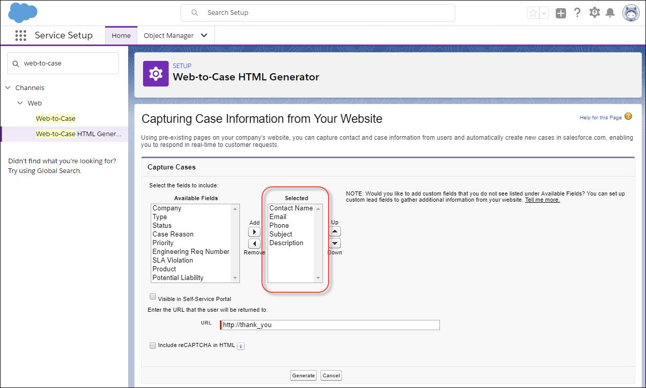 [サービスの設定] の [Web-to-ケース HTML ジェネレータ] ページのスクリーンショット。