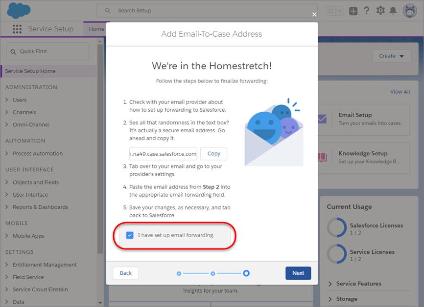 メール転送を確認するチェックボックスが選択されたメール設定プロンプト。
