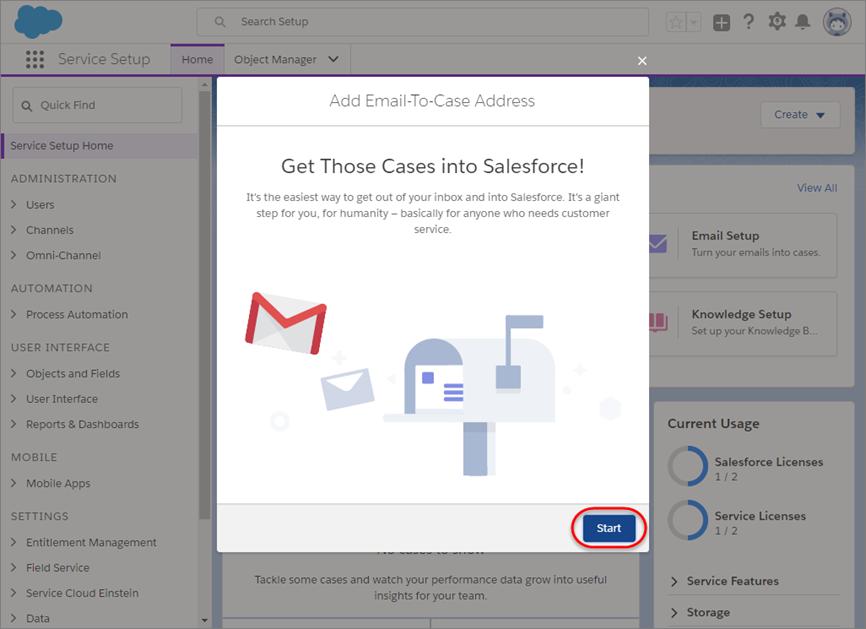 [次へ] ボタンが強調表示された最初のメール設定プロンプト。