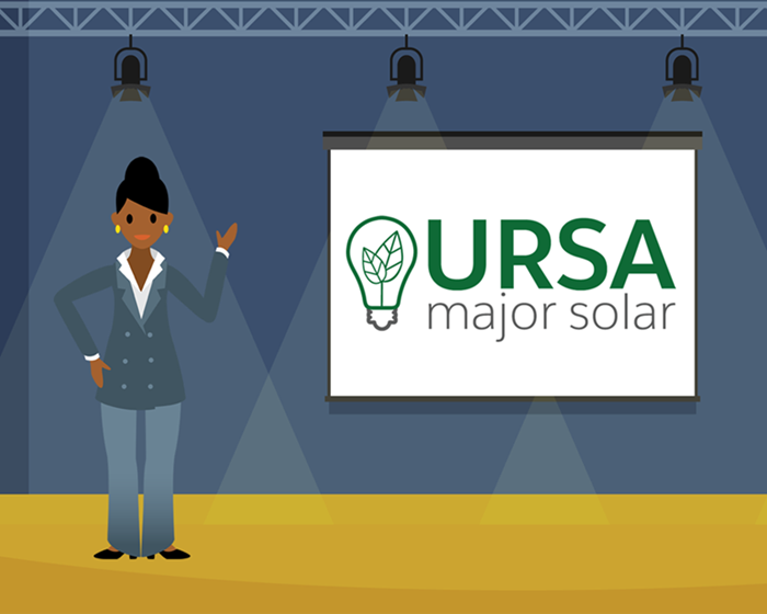 A graphic of Sita standing on stage before the logo of Ursa Major Solar.