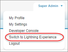 The Switch to Lightning Experience option from your username in the toolbar.