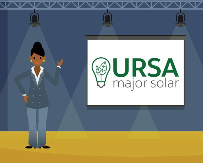 ステージで Ursa Major Solar のロゴの前に立つ Sita のグラフィック。