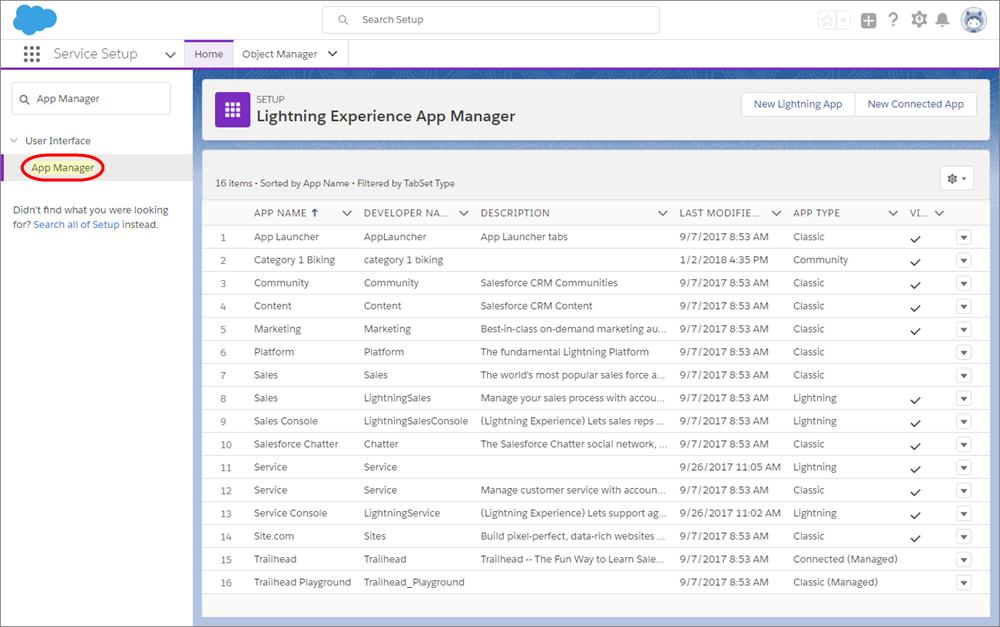 Seite 'Setup' mit hervorgehobenem Eintrag 'Anwendungs-Manager'