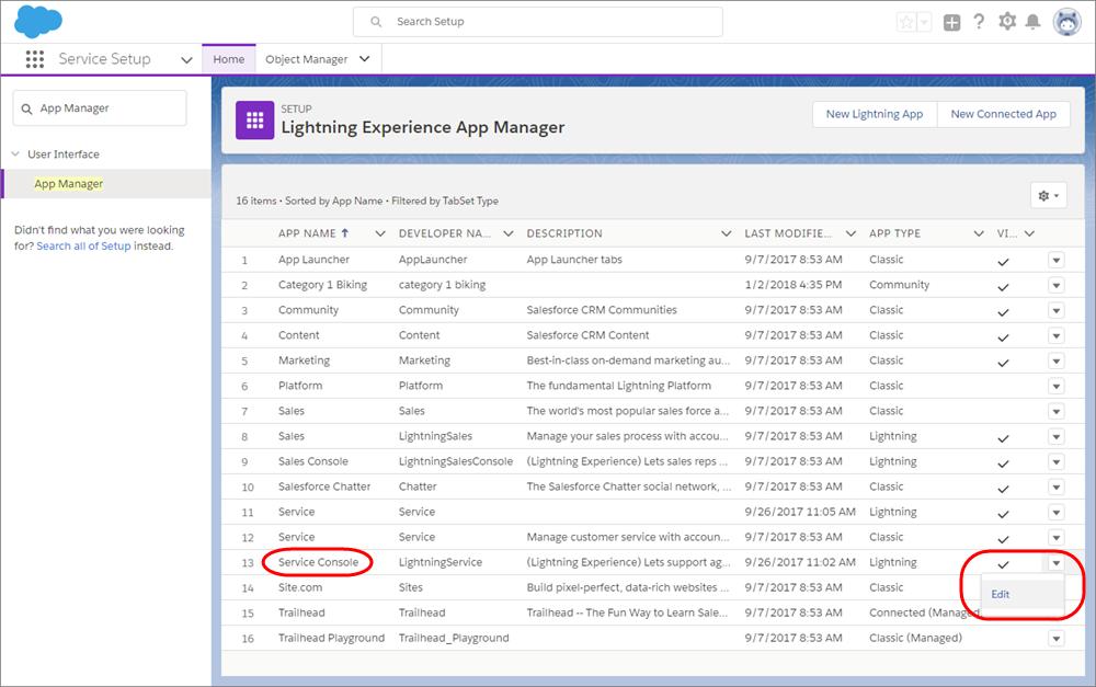 L'application Lightning Service sélectionnée sur la page Gestionnaire d'application de la configuration.