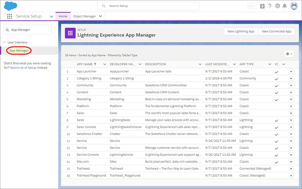 Le gestionnaire d'application sélectionné dans la page Toute la configuration.