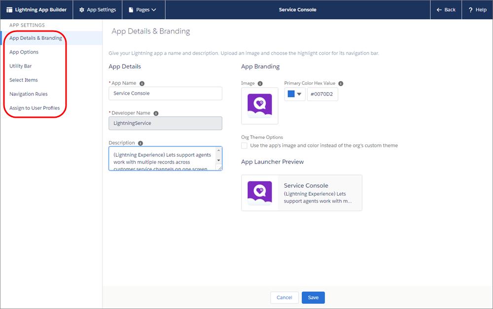 La page Modifier l'application dans la configuration, avec les options de l'application en surbrillance en haut de page.