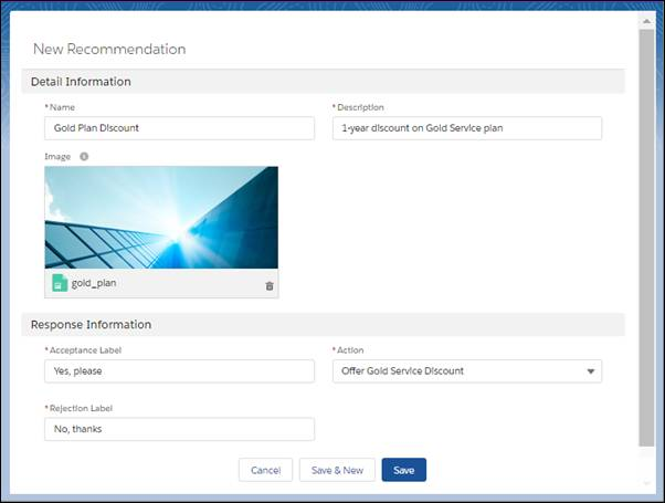 Configure settings for a recommendation, including an associated flow.