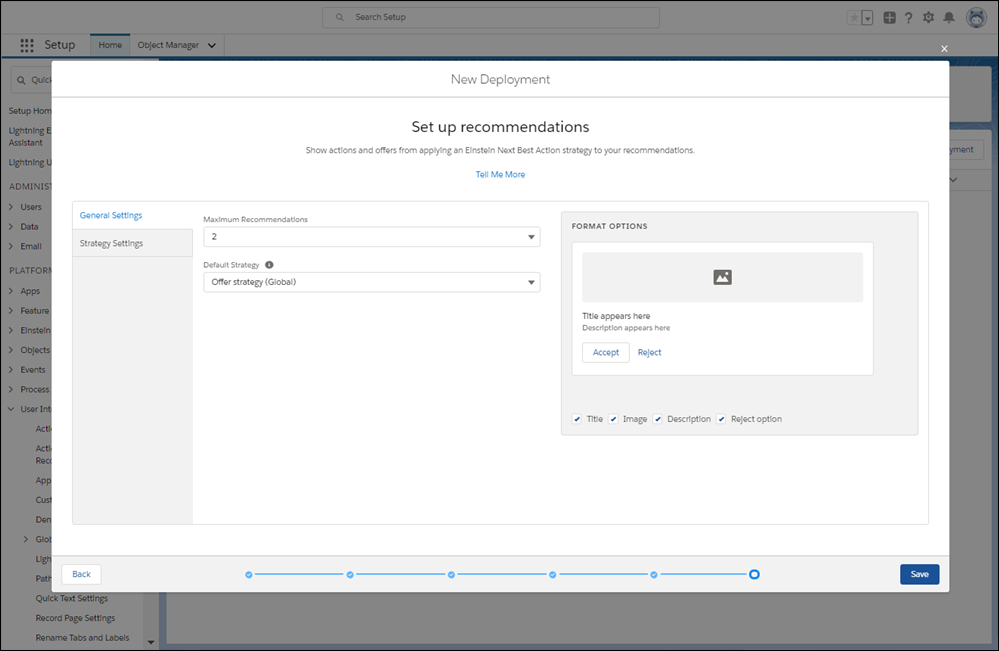 Configure how recommendations display and a default action strategy.