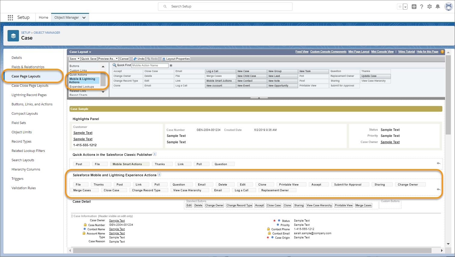 Pour afficher des actions rapides dans le composant, ajoutez-les d'abord à la présentation de la page d'enregistrement.