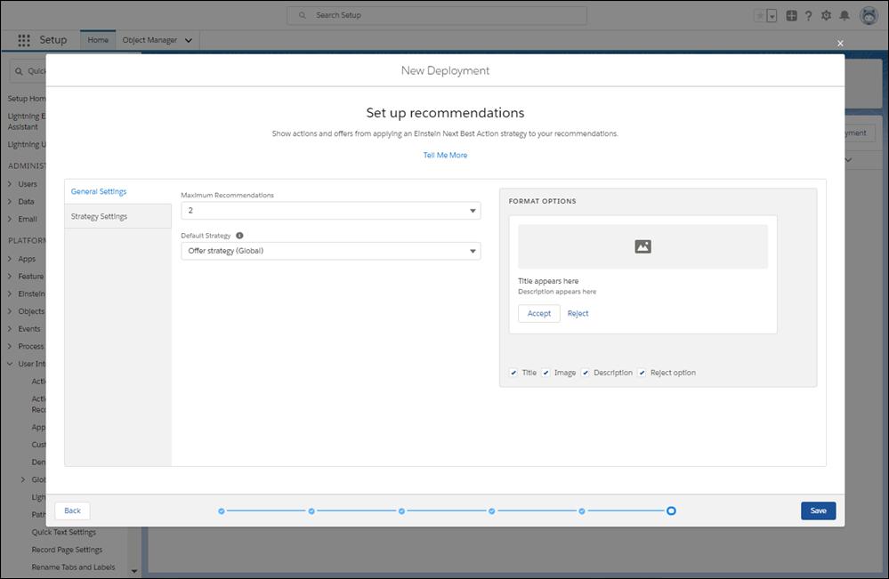 Configurez l'affichage des recommandations et sélectionnez une stratégie d'action par défaut.
