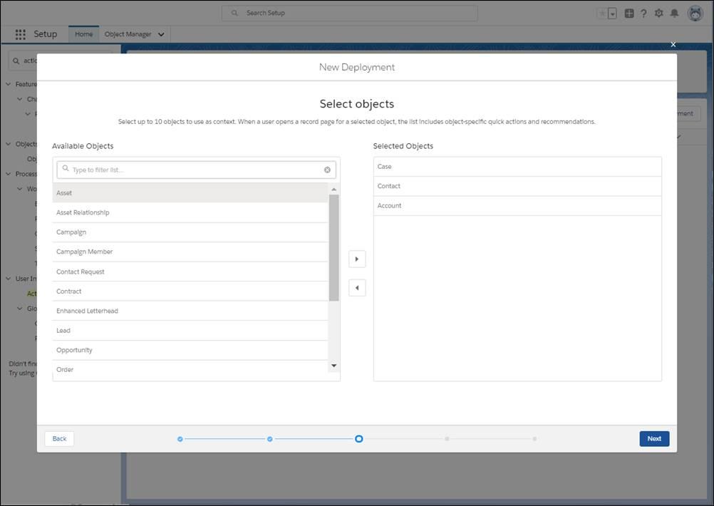 オブジェクト固有のクイックアクションとアクション戦略のコンテキストとして使用するオブジェクトを最大 10 個選択します。