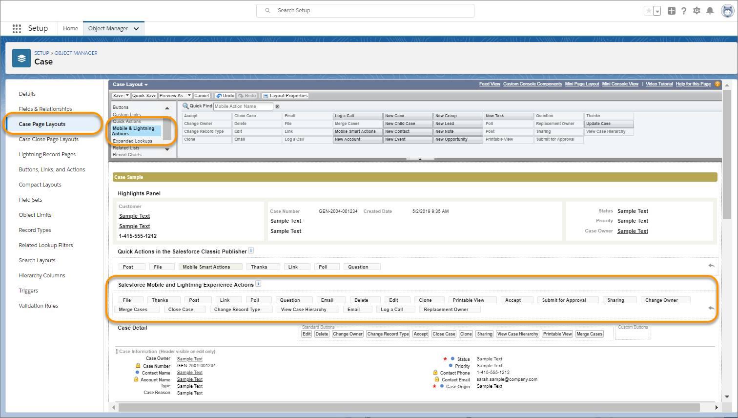 クイックアクションをコンポーネントに表示するために、まずレコードページレイアウトに追加します。